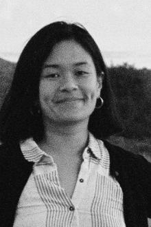 black and white photo of Louise Leong