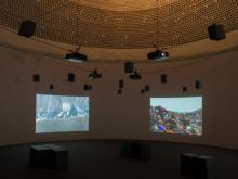 Angela Melitopoulos, Crossings, 2017, video and sound installation, installation view, Giesshaus (University of Kassel), Kassel, documenta 14