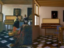 Johannes Vermeer, Lady at the virginals with a gentleman (also called The music lesson), oil on canvas (1662–65), Royal Collection Trust/© Her majesty Queen Elizabeth II / Computer graphics rendering of The music lesson by John R. Wallace, Michael F. Cohen, and Donald P. Greenberg and the Laboratory for Computer Graphics at Cornell University