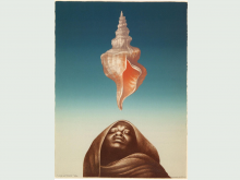 sepia robed figure under a sea shell, against blue sky background