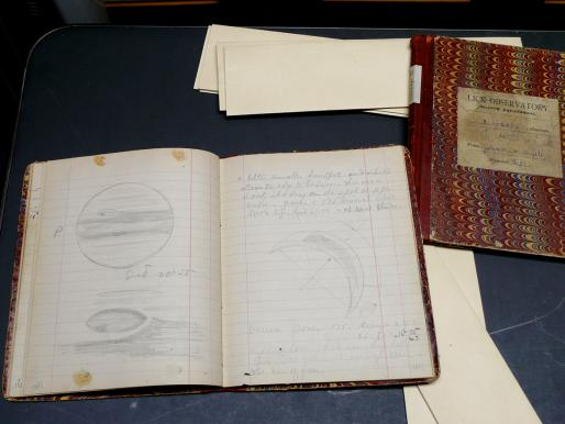 Two of E. E. Barnard's 1889 log books at Lick Archive, showing his drawings of Jupiter