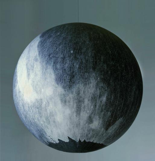 "Russell Crotty, ""The Milky Way (Northern Hemisphere), 2000, 36 inch sphere, ink on paper mounted on lucite"