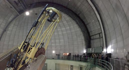 Inside the dome of the 120-inch Shane telescope