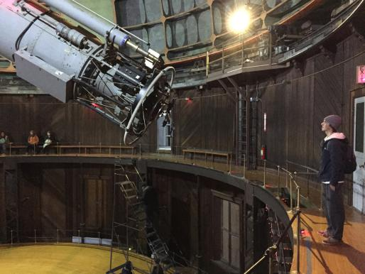 UCSC student Elliot Eckholm with the Great Refractor at Lick Observatory