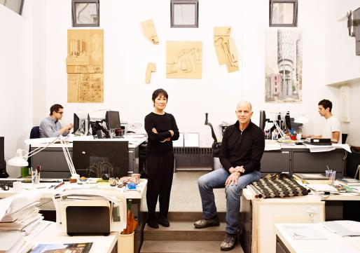 Billie Tsien and Tod Williams with colleagues in their studio.