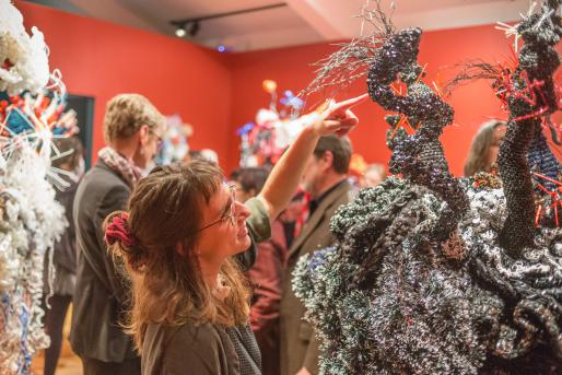 IAS intern Sophia Dematteo at the opening of IAS show with Crochet Coral Reef at the Sesnon Gallery