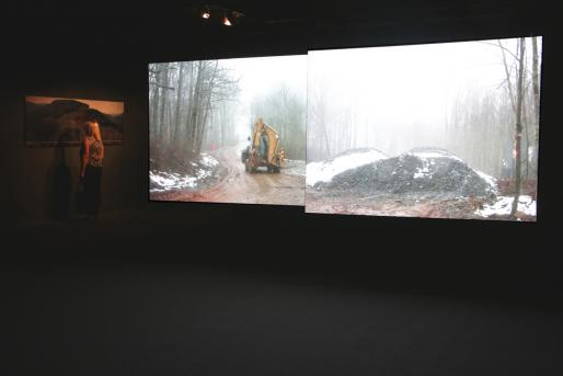 Installation view of Unearthing Disaster I & II at Minnesota Street Project, for EXTRACTION program, organized by T.J. Demos and A. Laurie Palmer, UC Santa Cruz faculty