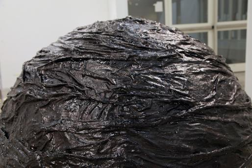 Levester Williams, Tar Ball, 2014 (Detail) Unclean bed sheets from a Virginian adult penitentiary, tar, and flies
