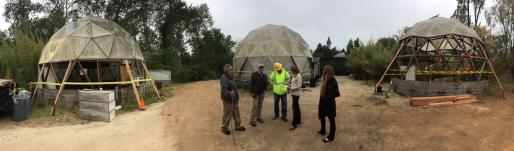 Newton Harrison meets with Arboretum staff and contractors about the rehabilitation of the domes.