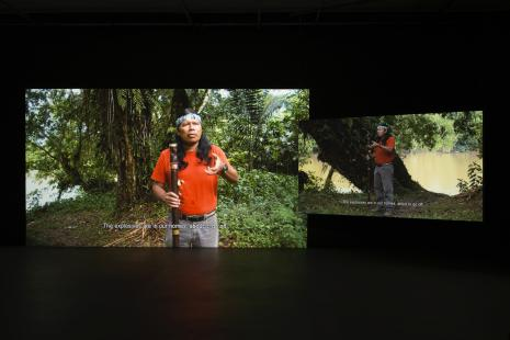 Ursula Biemann and Paulo Tavares, Forest Law, 2014, Multi-channel video installation and photo-text assemblage.